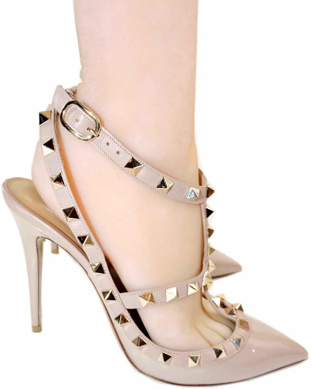 Valentino Rockstud T-Strap Patent Leather Cage Pumps Slingback Heels Shoe 37.5