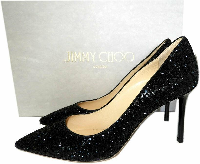 Jimmy Choo Romy Black Glitter Pointy Toe Pumps 85 Heels Shoes 36.5 - Click Image to Close