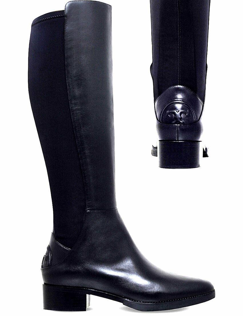 $495 Tory Burch CAITLIN Riding Boot Tall Flat Equestrian Booties Stretch 9.5