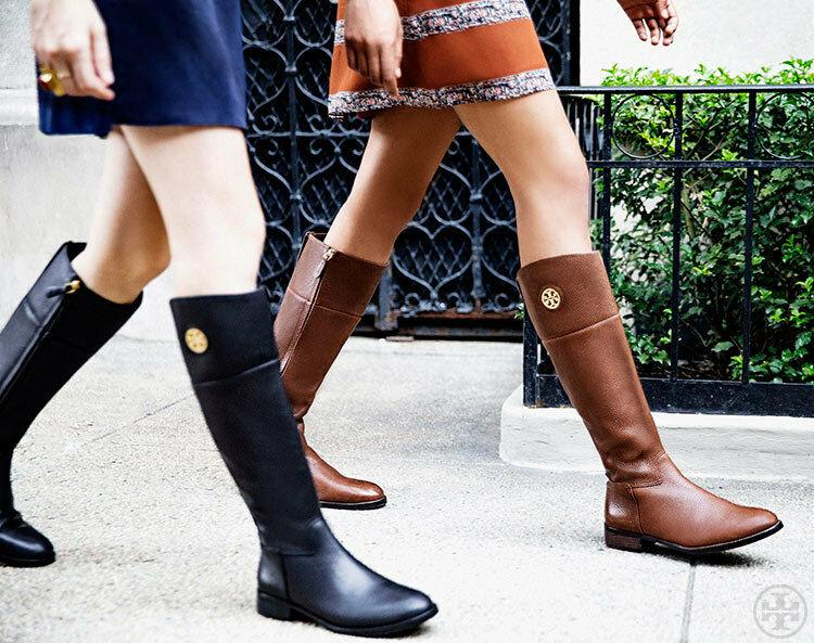 $495 Tory Burch Junction Riding Boots Flat Equestrian Booties 9 Gold Logo Brown