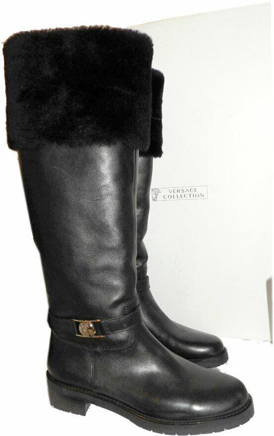 $998 VERSACE Tall Knee Flat Shearling Fur Lined Leather Boots Black Booties 41