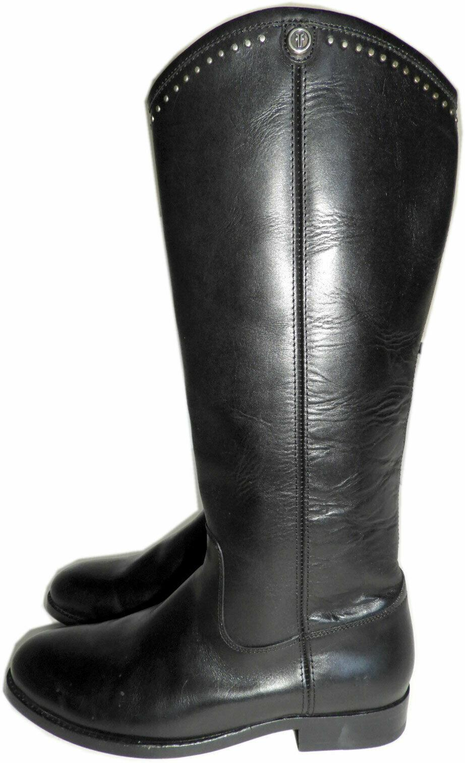 Frye Melissa Button Boot Riding Equestrian Black Leather Studde Pull Booties 6.5