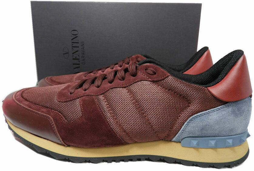 VALENTINO Men's Rockrunner Mesh/Leather Sneakers Burgundy Shoes Sz 48 Rockstud