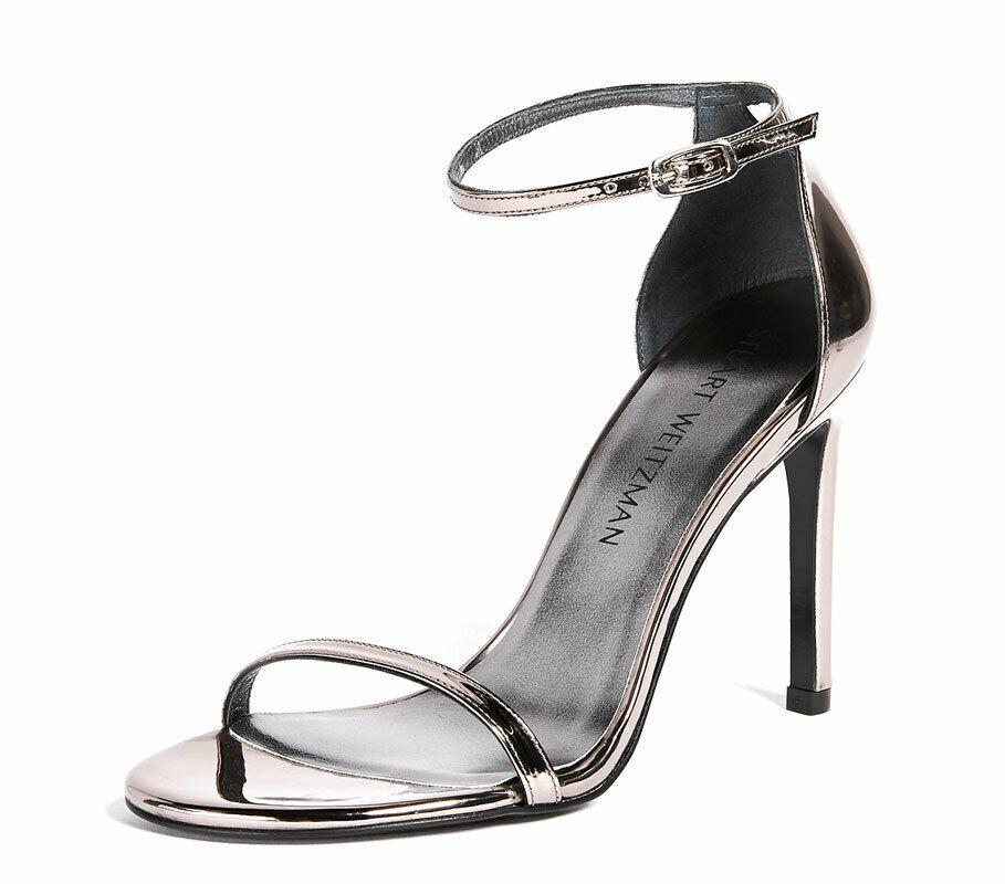 $398 Stuart Weitzman THE NUDISTSONG Pewter Patent Leather Sandals Shoes 11 Pumps
