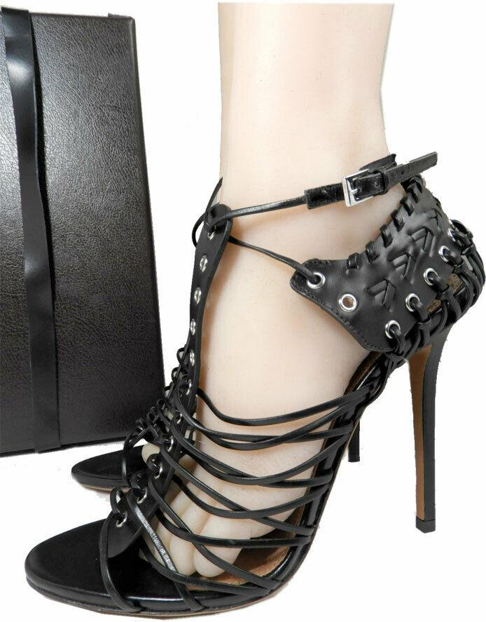 $1290 Alaia Black Whipstitch Eyelet Strappy Stiletto Sandals Pumps 41 Shoes