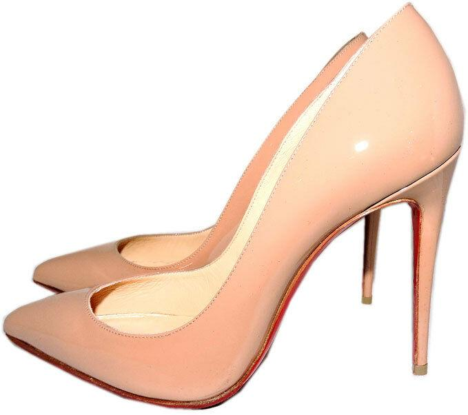 Christian Louboutin Nude Patent Leather Pigalle Pointed Toe Pump Shoes 38