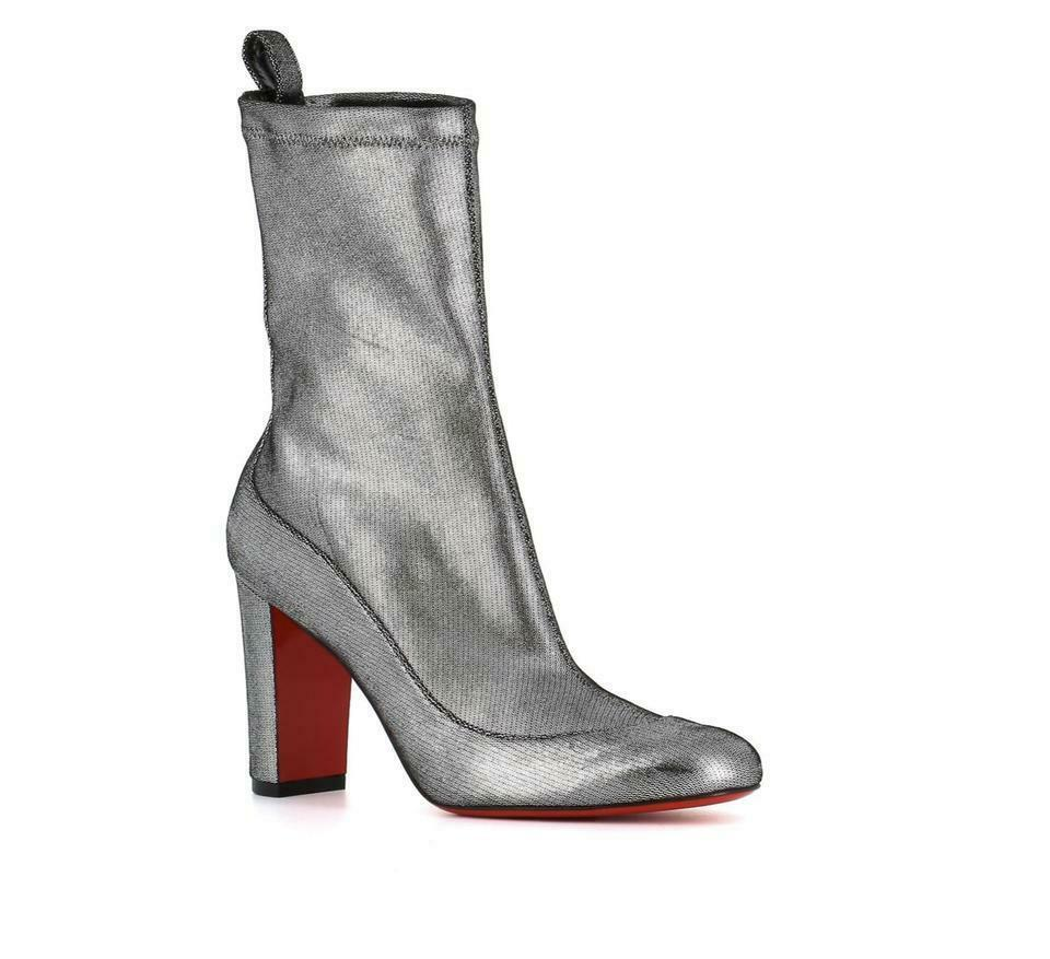 Christian Louboutin GENA Boots Silver Stretch Leather Ankle Booties Shoes 36.5