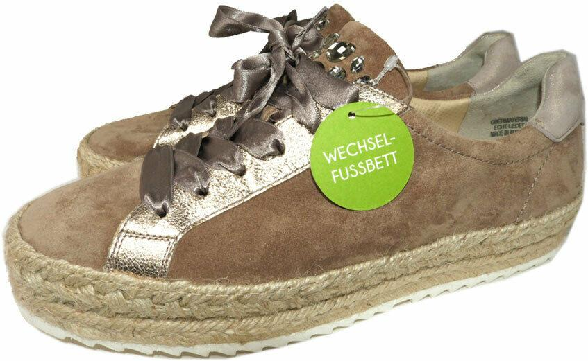 Paul Green Randy Sneakers Espadrilles Shoe Suede Crystals Wedge Loafers Sz 8.5
