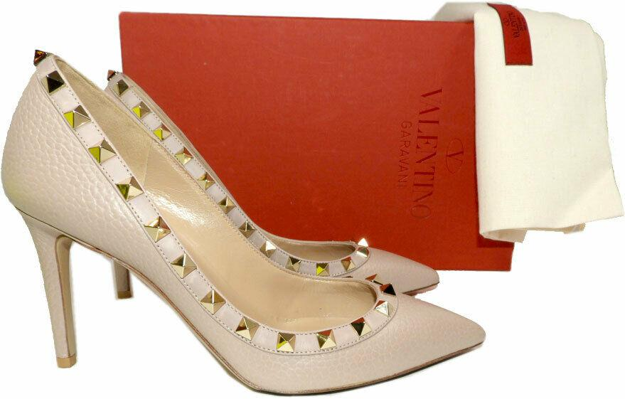 Valentino Rockstud Rolling Pumps Pointed Pump Beige Tumble Leather Shoes 36