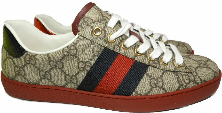 Gucci New Ace Webbed Low Top Sneaker Imprint Shoes 6 UK - 7 US