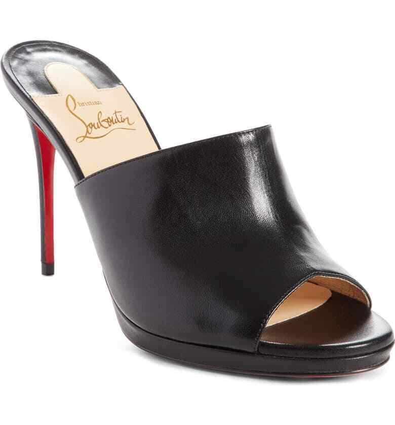 Christian Louboutin PIGAMULE Pumps Black Leather Mules Slides Heels Shoes 39.5