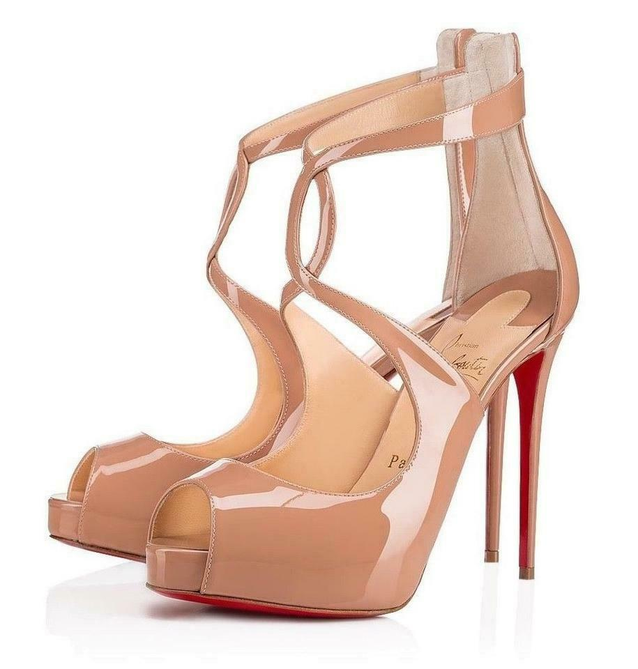 Christian Louboutin Rosie Nude Patent Leather Peep Toe Platform Pumps Shoes 38.5