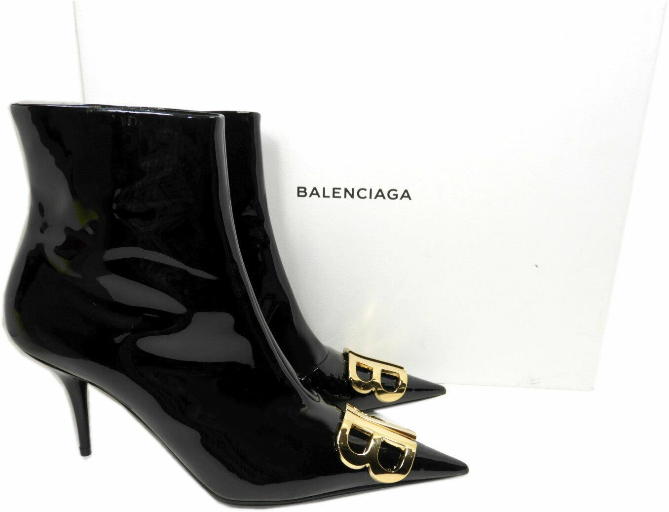 Balenciaga Pointy Toe Black Patent Leather BB Gold Logo Ankle Boots Booties 41