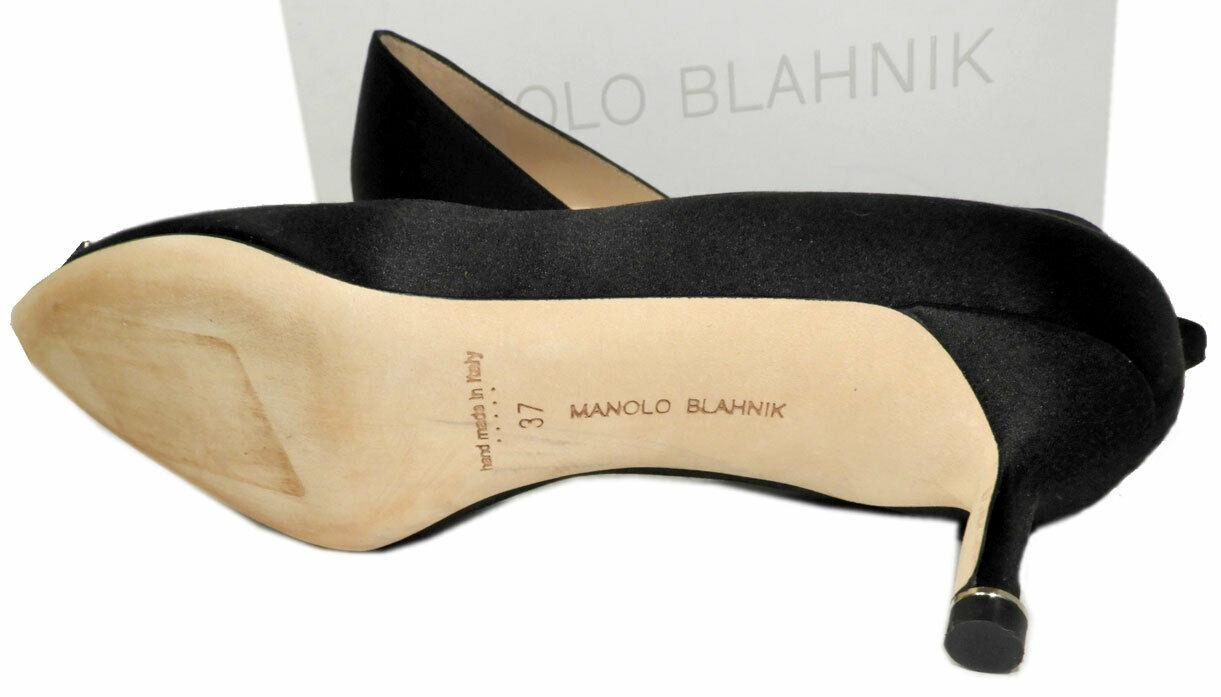 Manolo Blahnik Hangisi Pointy Toe Pumps Black Satin Ornament Shoes Low Heel 37 - Click Image to Close