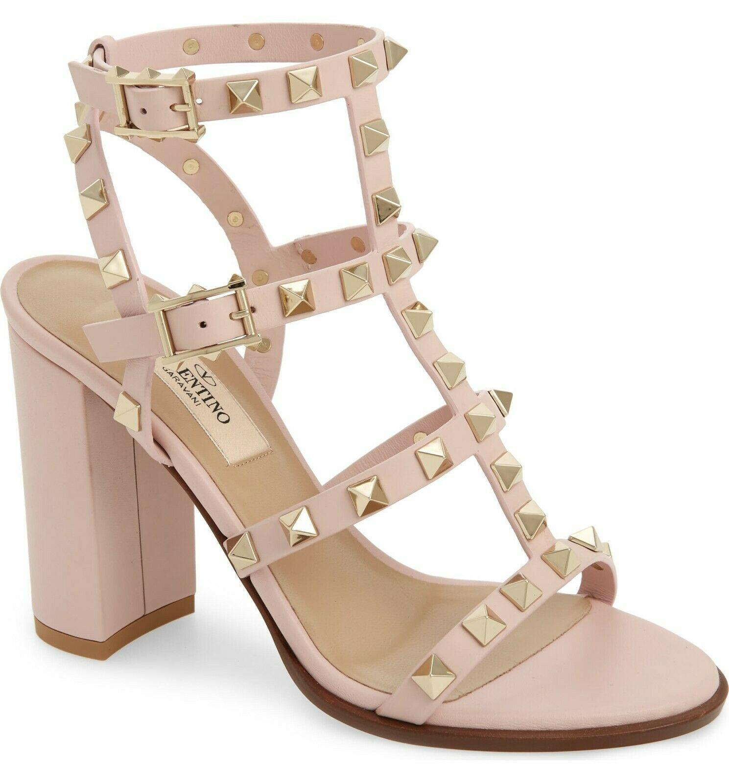 Valentino Rockstud T-Strap Rose Leather Cage Sandals Slingback Pumps Shoes 37