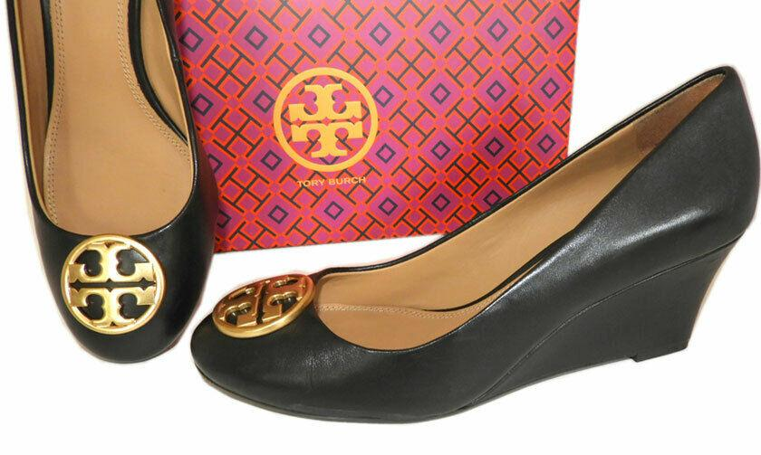Tory Burch Chelsea Wedge 65mm Black Leather Pumps Gold Logo Shoes 6.5