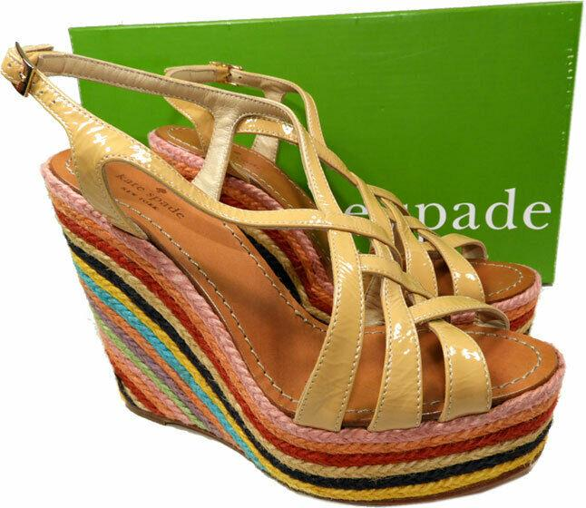 KATE SPADE Rainbow Espadrille Wedge Nude Patent Leather Sandals Shoes 37 - 7