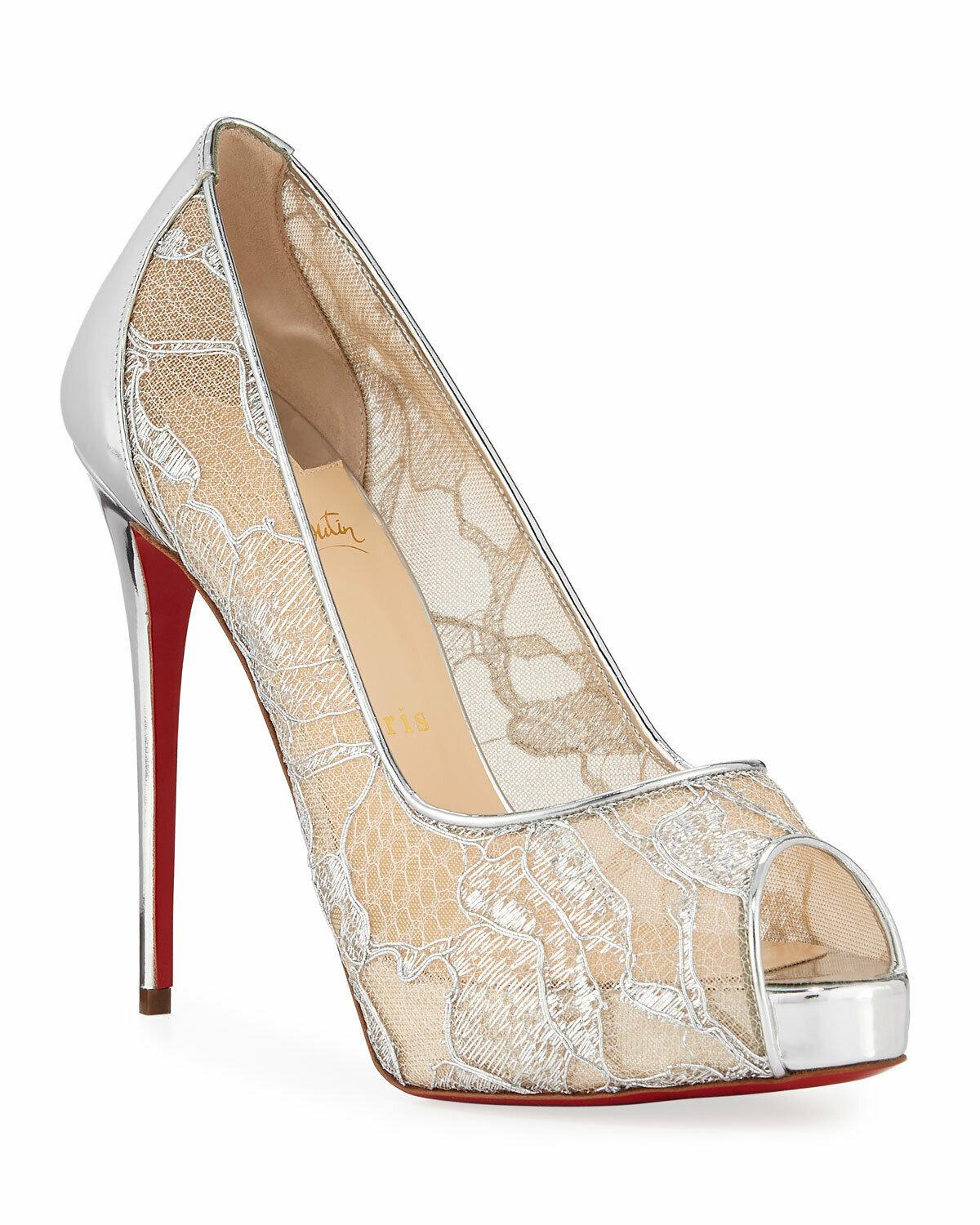 Christian Louboutin VERY LACE Silver Patent Leather Pumps 40.5 Shoes Heels