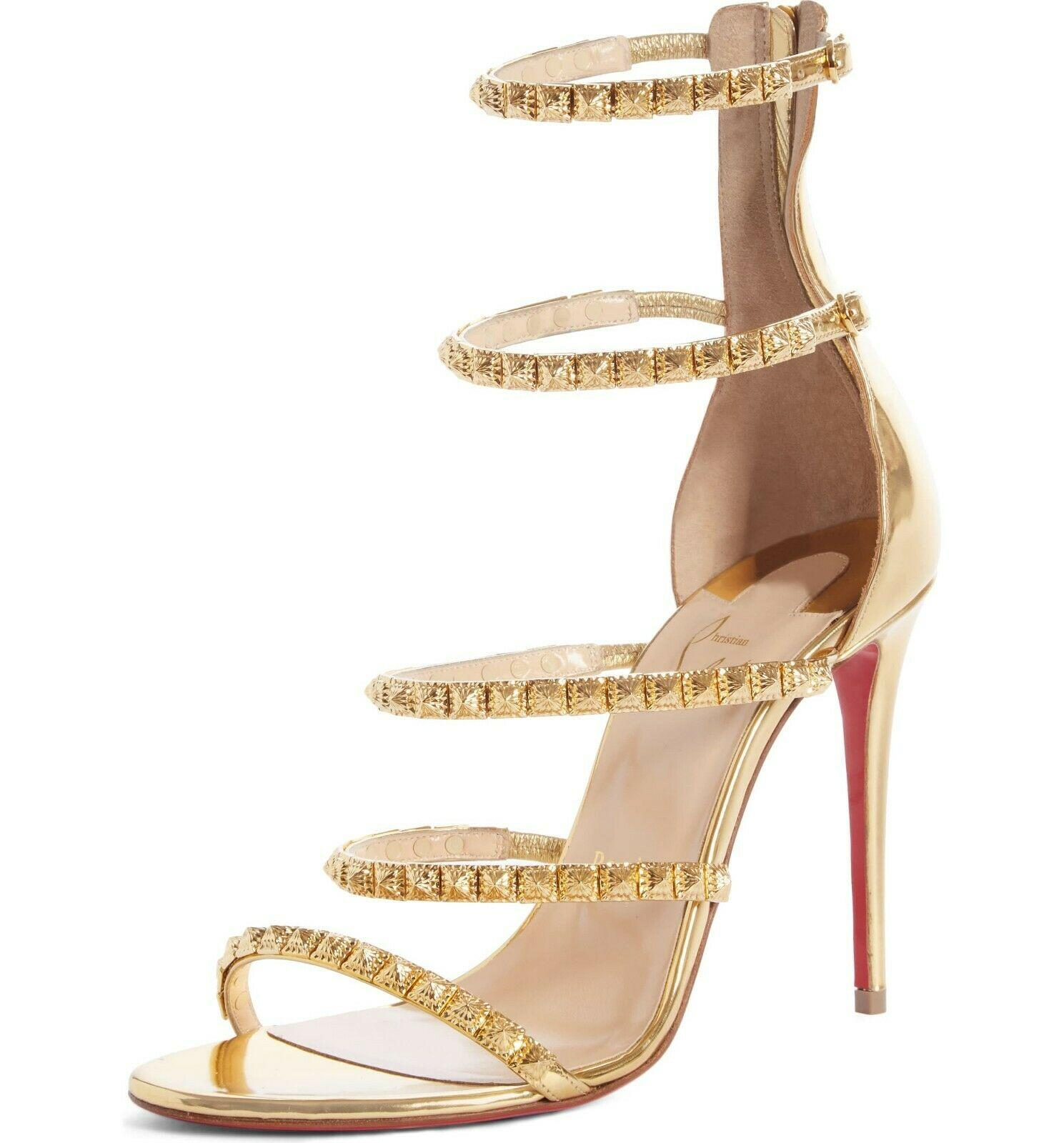 $1295 Christian Louboutin Forever Girl Spike Cage Sandals Gold Pumps 37.5