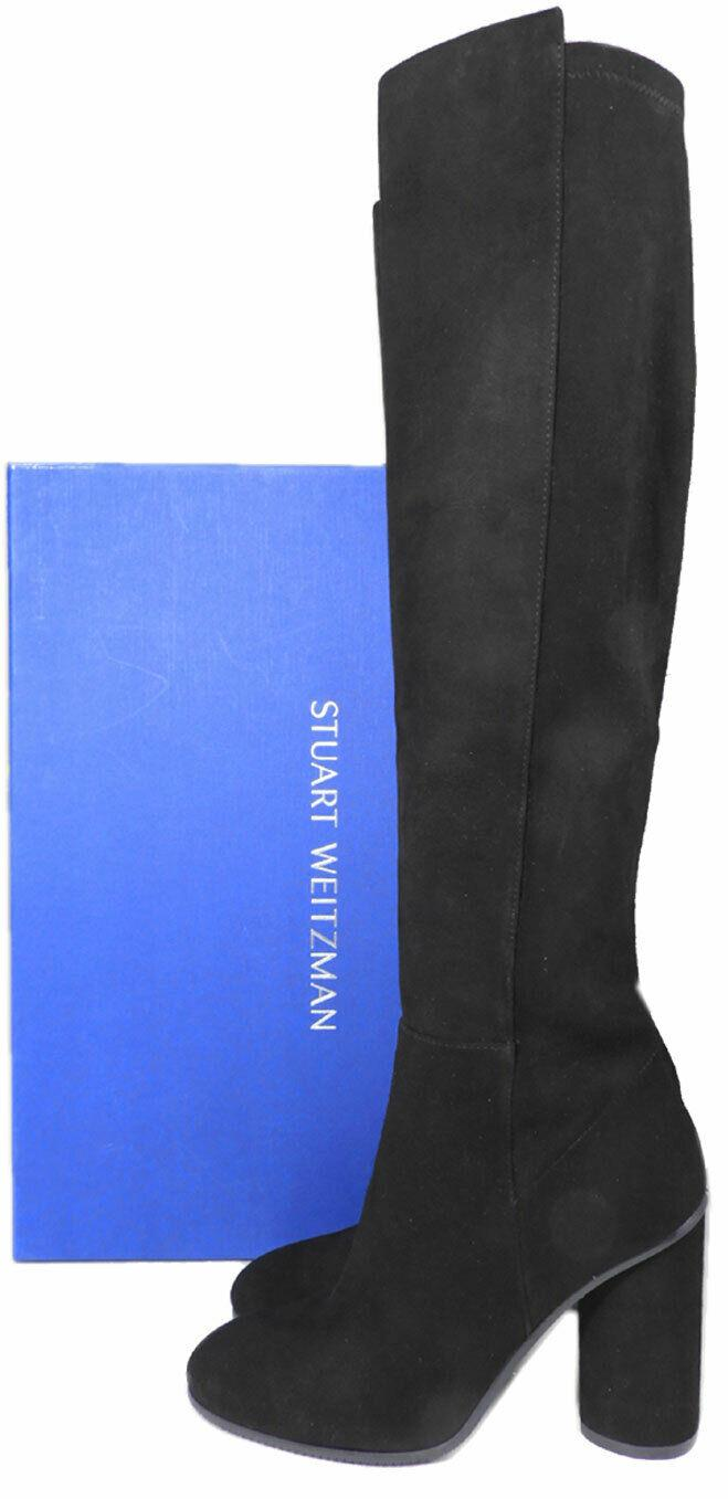 $798 Stuart Weitzman Eloise Over the Knee Boots Black Stretch Suede 7 Booties