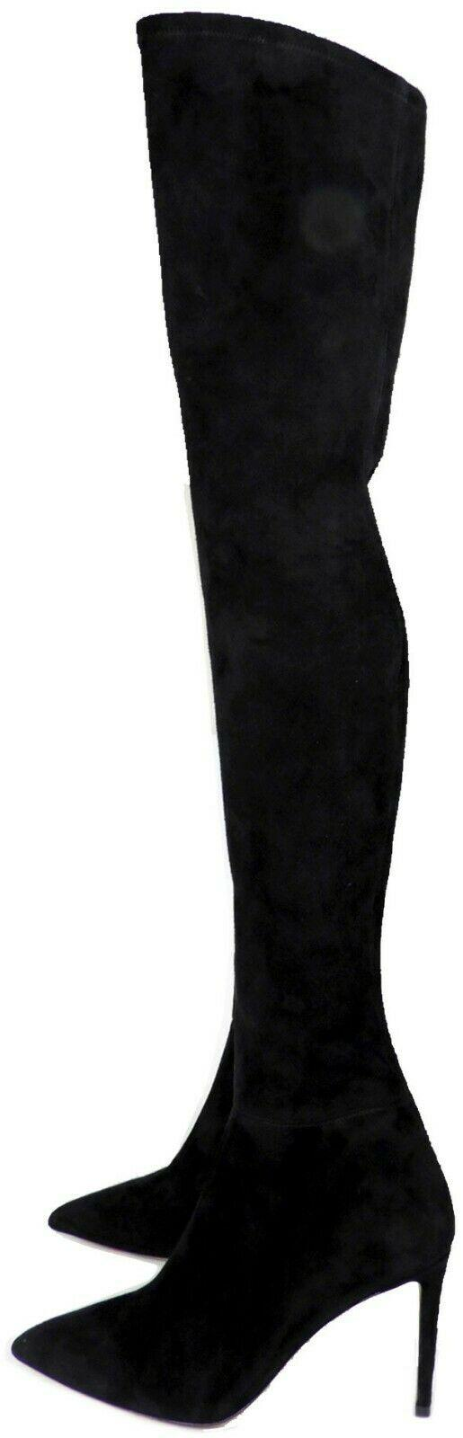 $1190 BRUNO MAGLI Over the Knee Boots Stretch Suede Alberta Thigh-High Shoes 38