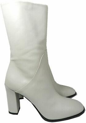 Via Spiga Bone Color Adrinna Leather Mid Boots Heel Booties Shoe 10 -40