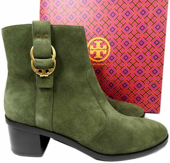 Tory Burch Boots MARSDEN 50mm Booties Biker Hunter Green Suede 9.5 Boots