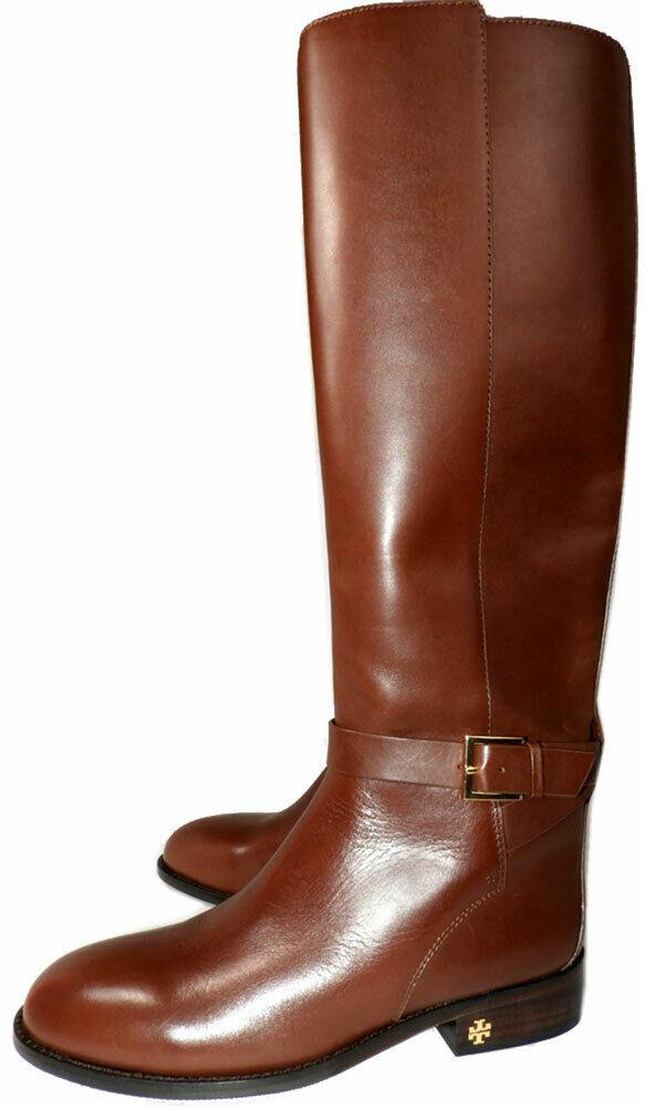 Tory Burch BROOK Brown Leather Riding Boots Flat Equestrian Booties 9