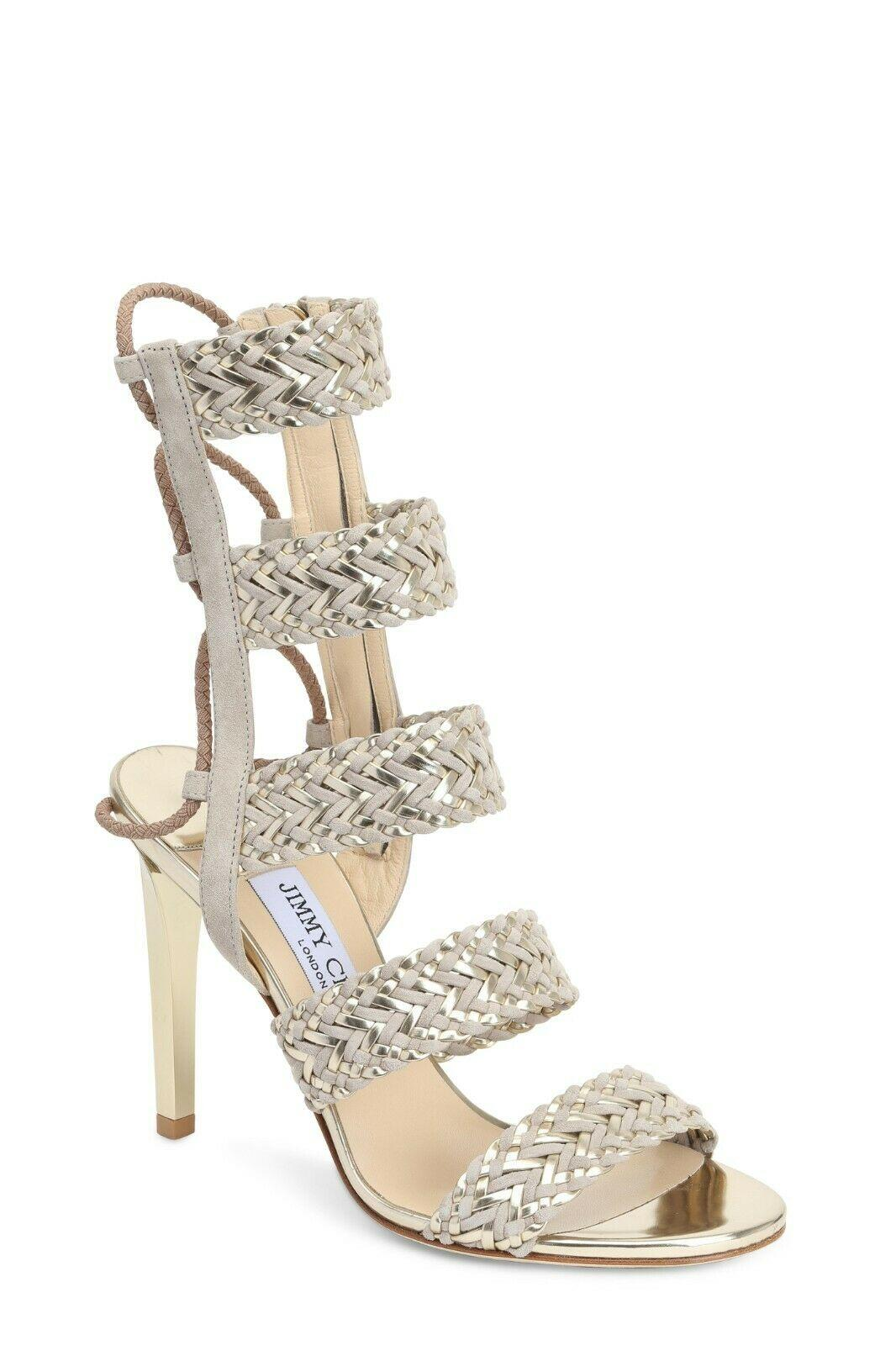 $1,150 JIMMY CHOO Lima Sandals Beige Gold Suede Woven Gladiator Heels Shoes 35.5
