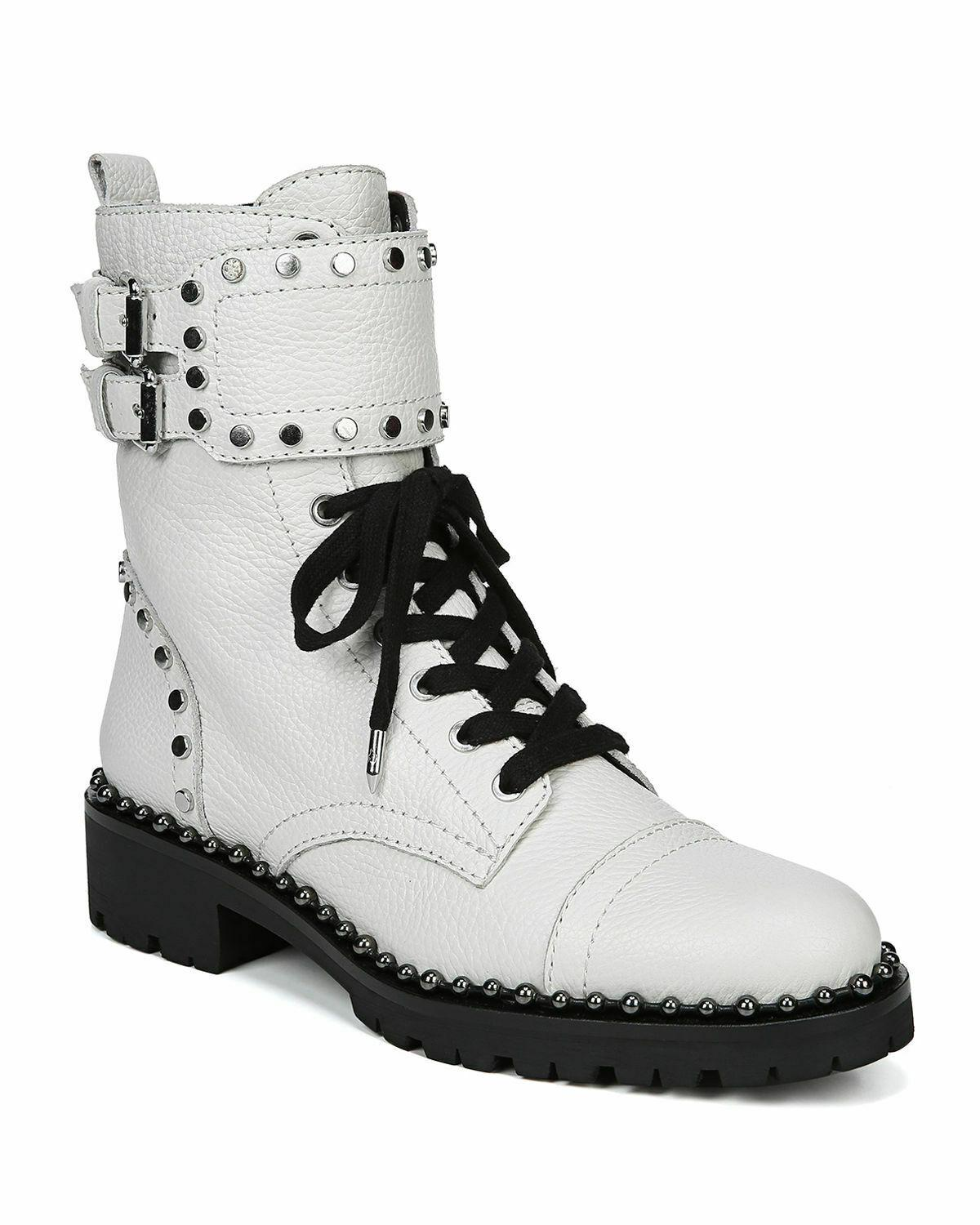 Sam Edelman Jennifer Combat Boots Studded Ankle Booties 8.5 White Leather