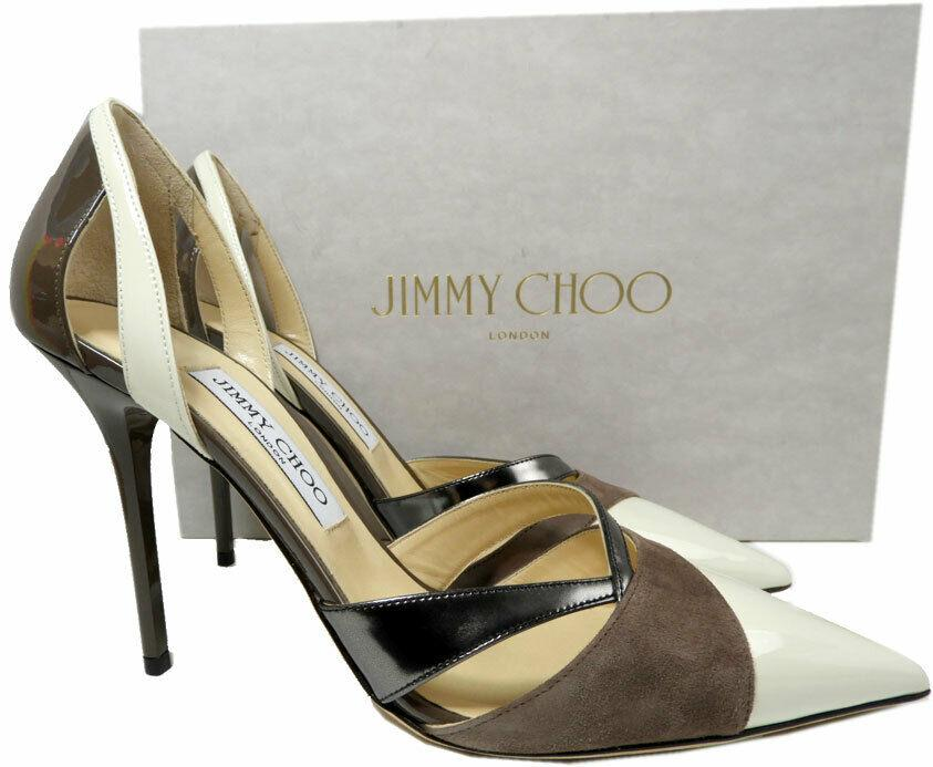 Jimmy Choo LeekerPointy Toe Pumps Tri Color Leather Heels Shoes 39