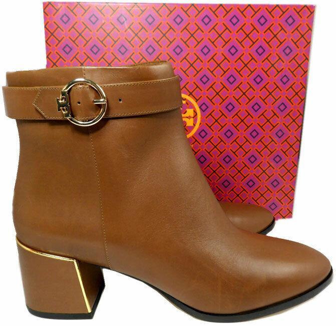Tory Burch Sofia 60 mm Brown Leather Dress Ankle Boots Buckles Booties 11