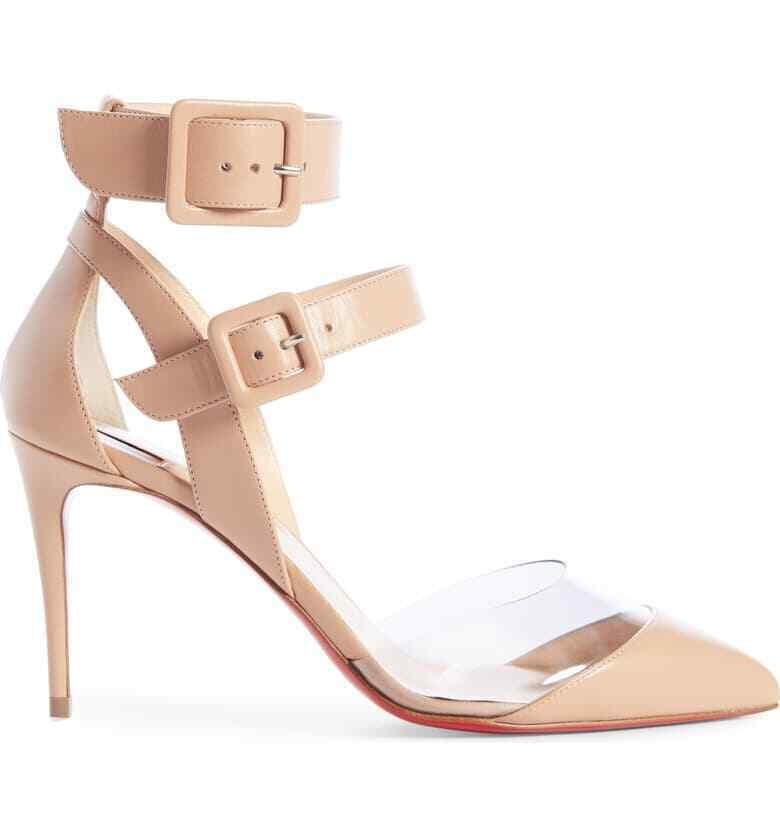 Christian Louboutin Multimiss Ankle Strap Buckle Sandals Pumps Shoes 38.5 Heels