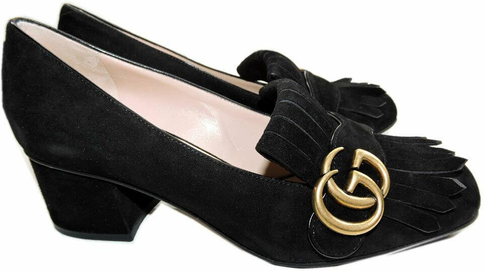 Gucci Black Suede GG Marmont Pumps 39 Kiltie-Fringed Block Heel GG logo Shoes