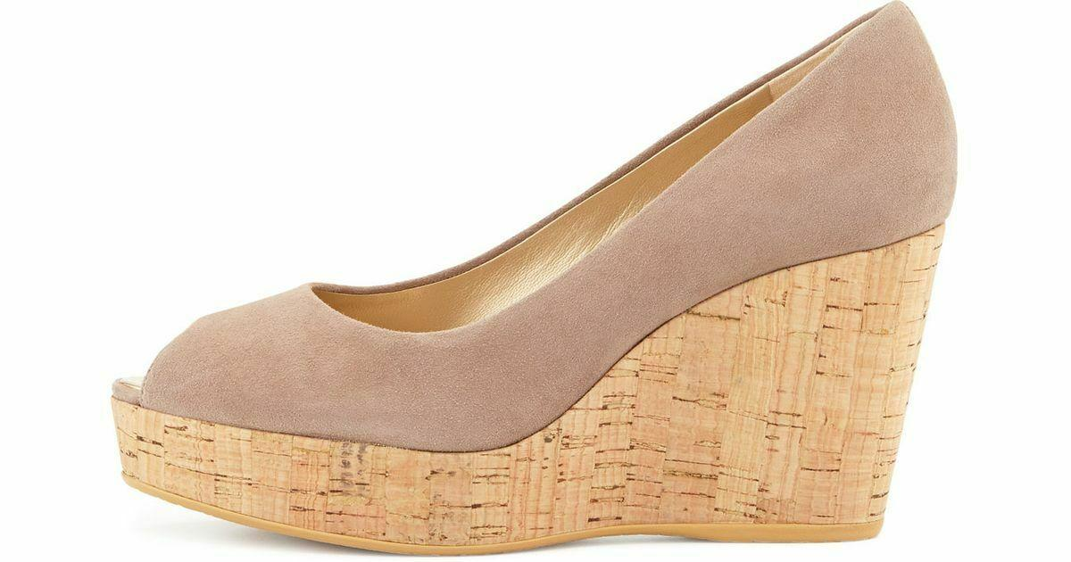 Stuart Weitzman ANNA Wedge Pumps Beige Suede Gold Peep Toe Cork Shoe 8.5
