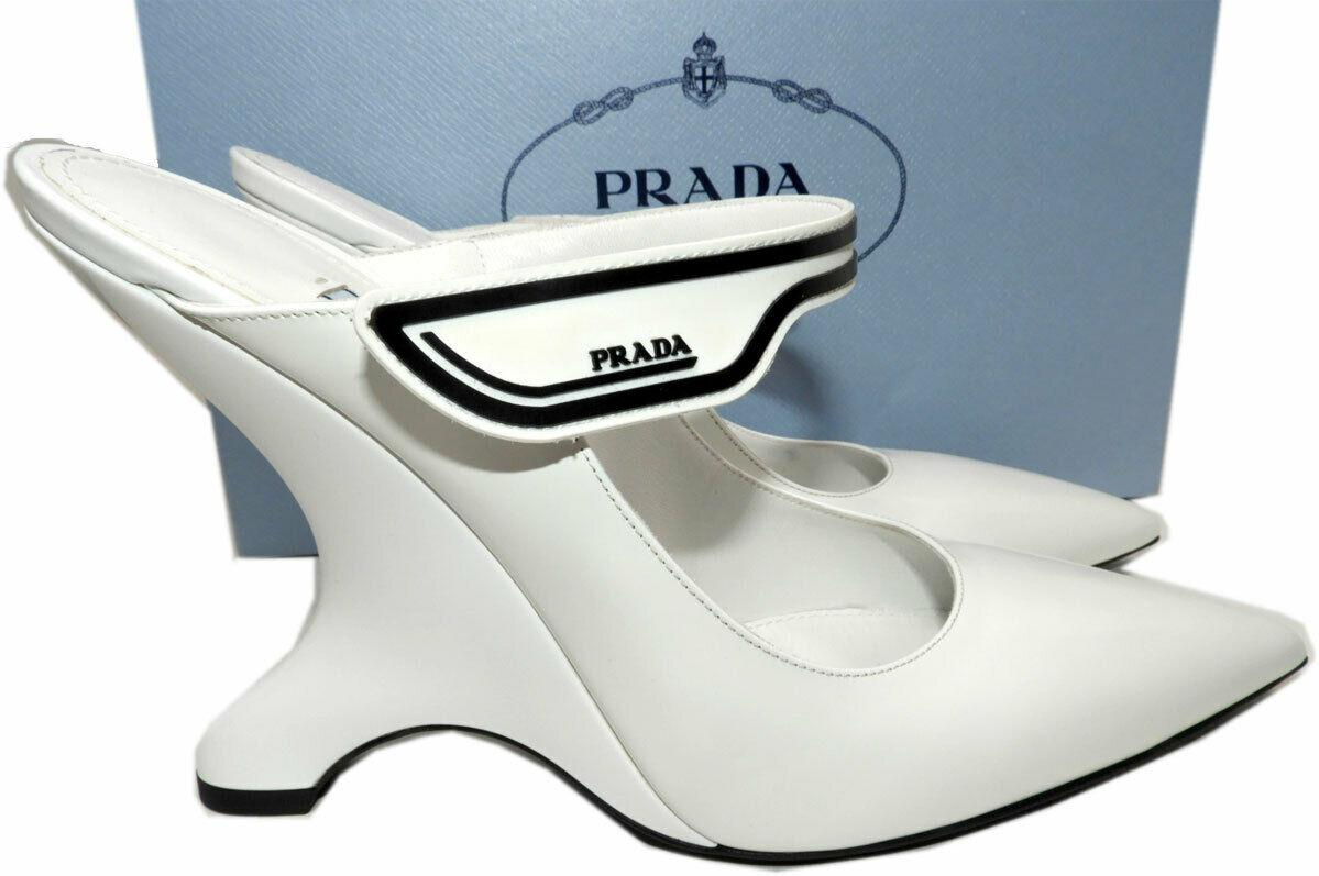 Prada White Leather Mules Wedge Pumps Pointy Toe Shoes 39.5 Logo