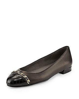 $425 Stuart Weitzman Quilted Cap Toe Chain Ballet Flats - Legacy 10 Quiltlegacy