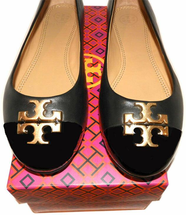 Tory Burch EVERLY Ballet Flats Black Leather Gold Logo Reva Ballerina Shoes 9 39