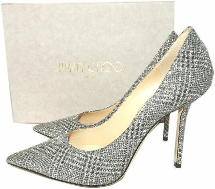 Jimmy Choo LOVE 100 mm Pointy Toe Pumps Pump Silver Glitter Shoes 40.5