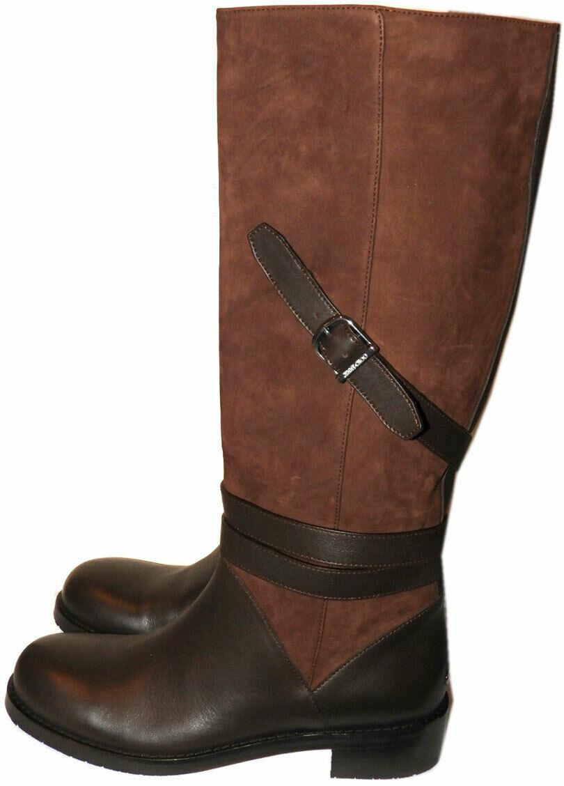 $1290 Jimmy Choo DARLA Boots Tall Knee Buckles Flat Riding Brown Booties 37 Boot