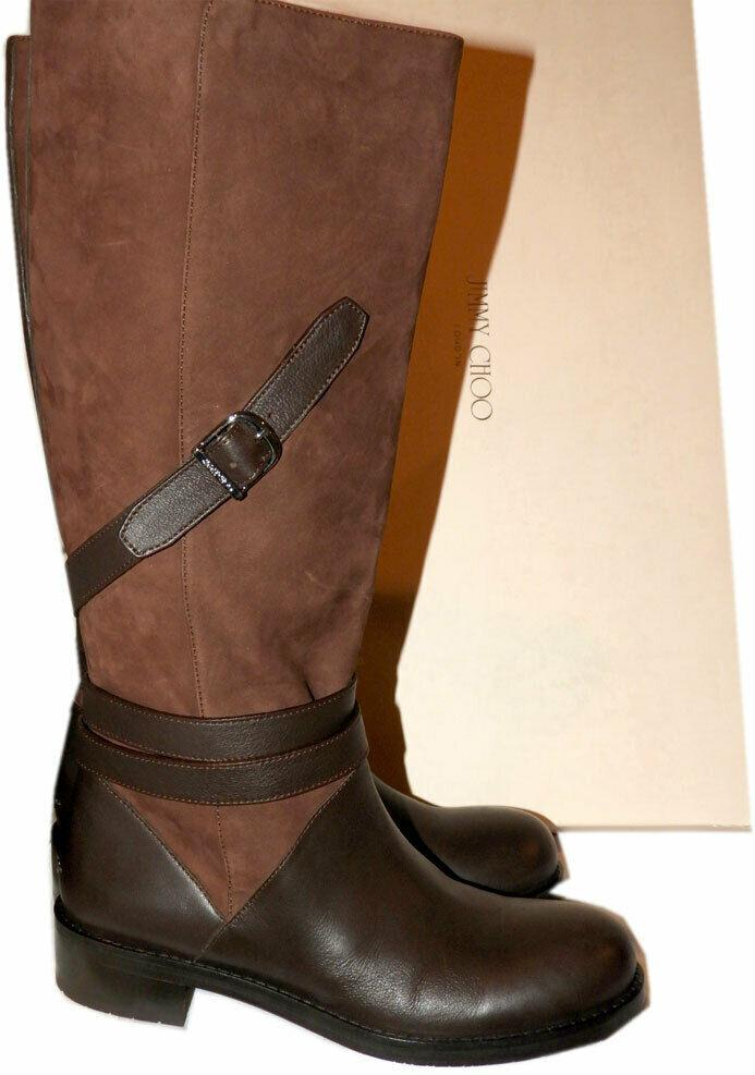 $1290 Jimmy Choo DARLA Boots Tall Knee Buckles Flat Riding Brown Booties 39.5