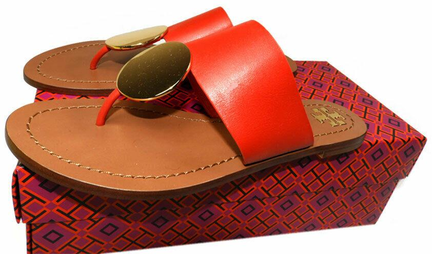 Tory Burch Patos Disc Flat Thongs Sandals Slide Mules Flip Flop 7 Shoes Red