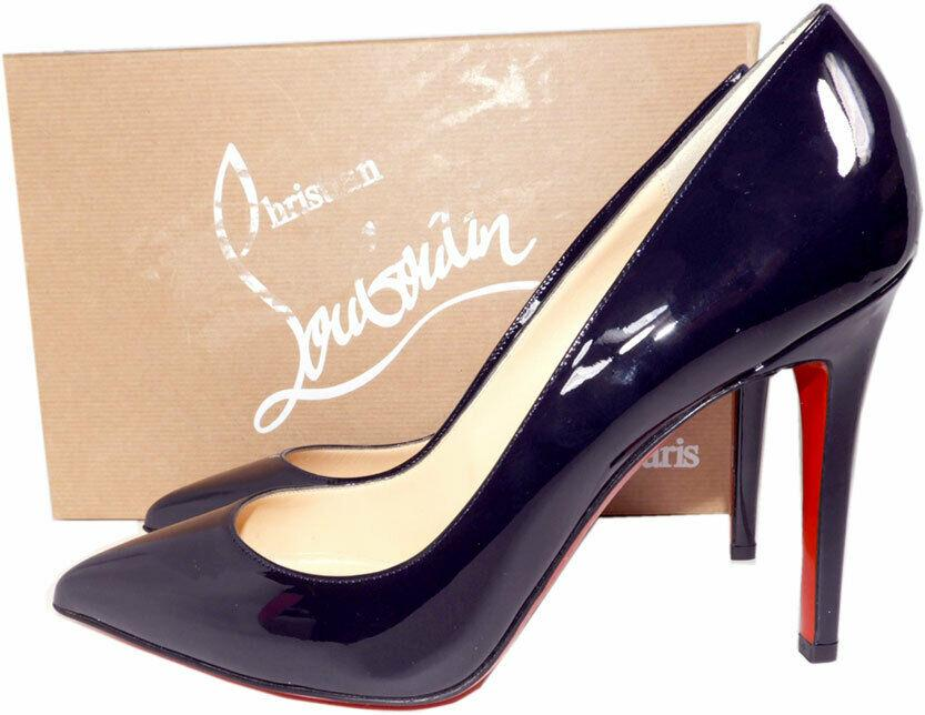 Christian Louboutin Pigalle 100 Pumps Marine Patent Leather Shoes 39.5