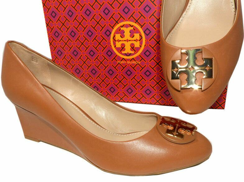 Tory Burch LUNA Wedge 85mm Tan Leather Almond Toe Pumps Gold Logo Shoes 10.5