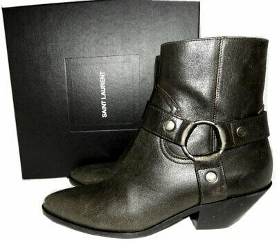 $1190 Ysl Saint Laurent West Harness Leather Ankle Boots 38 Booties