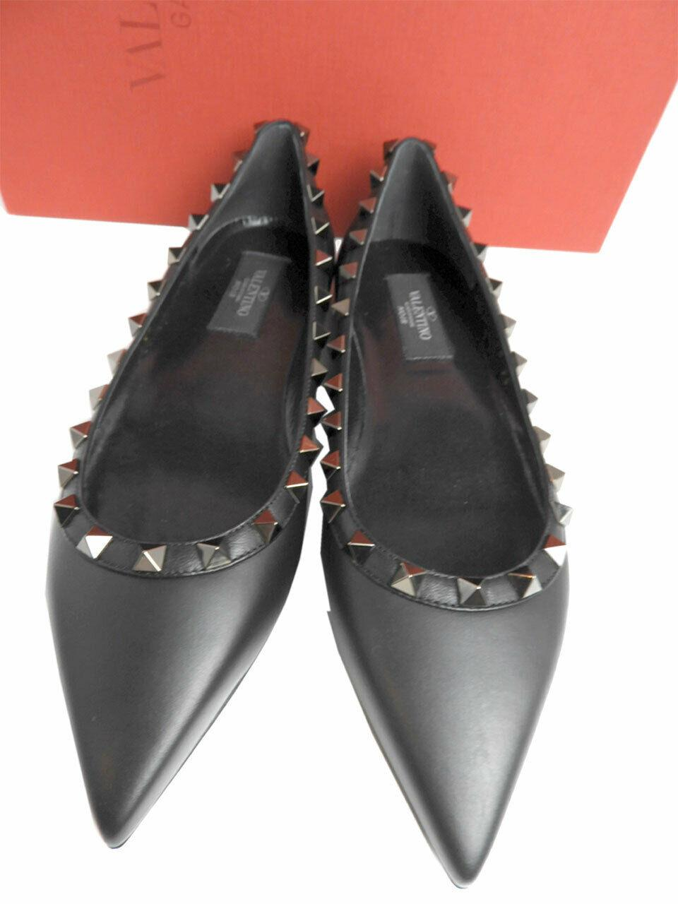 Valentino Rockstud Flats Black Leather Pointy Toe Pumps Shoes 36