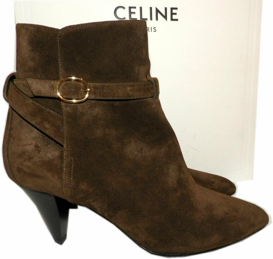 CELINE Triangle Heel Jodhpur Ankle Boots Ankle Booties Shoes 38 Khaki Suede