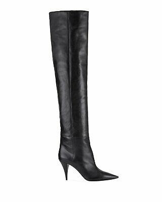 $1795 Ysl Saint Laurent KIKI Boots Over The Knee Boot Leather 37.5 Booties