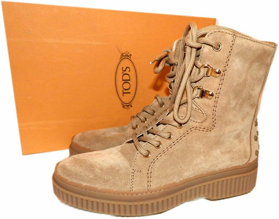 $775 Tod's Military Boots Combat Beige Suede Ankle Lace Up Booties 36.5 Shoes
