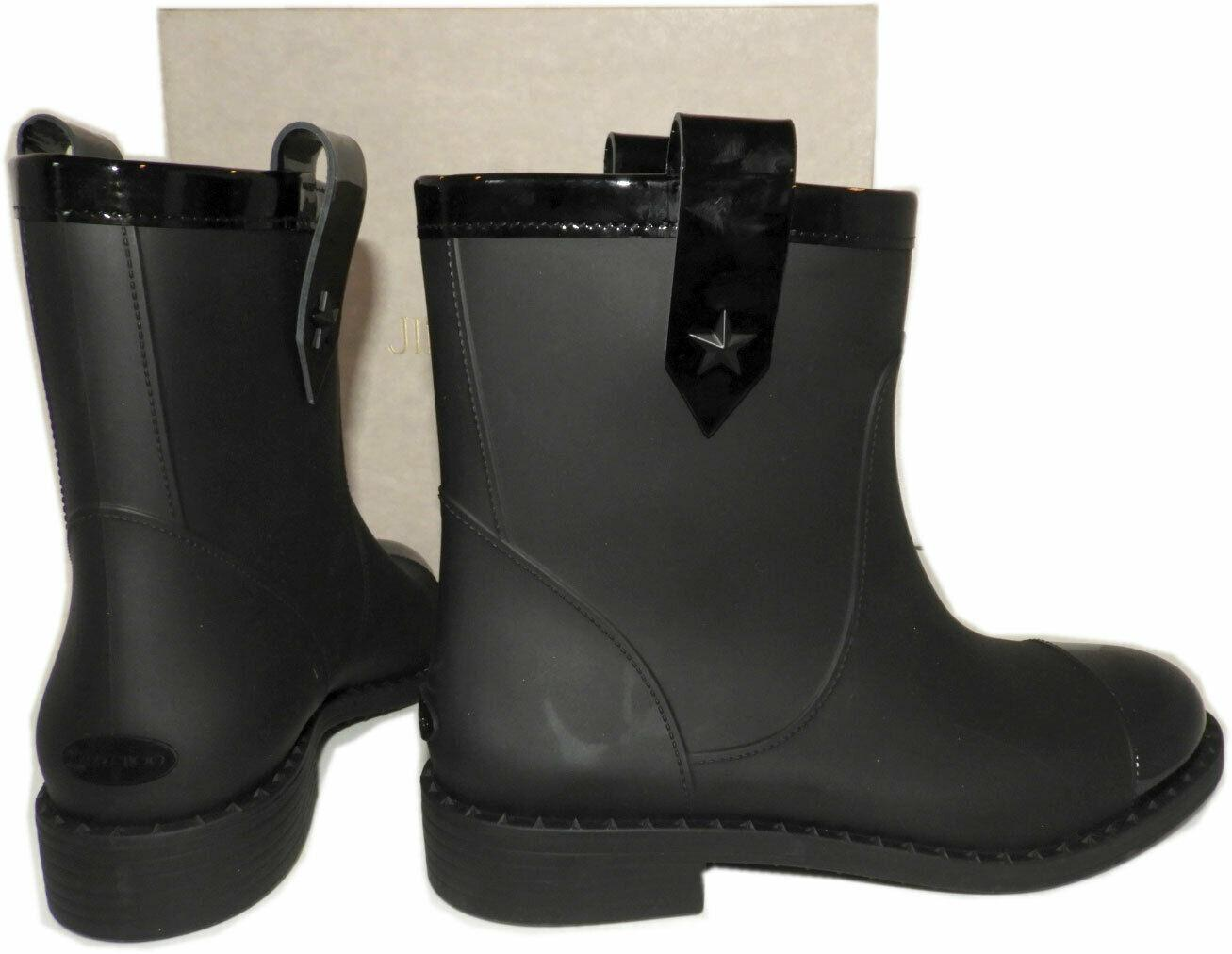 Jimmy Choo Edie Rain Rubber Boots Short Motorcycle Ankle Booties 38- 7 Boot